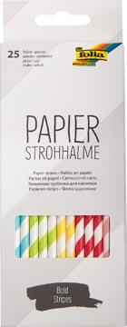 Folia papieren rietjes, ophangbaar doosje van 25 stuks, strepen