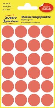 Avery Ronde etiketten diameter 18 mm, rood, 96 stuks
