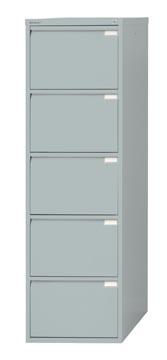 Bisley hangmappenkast, ft 151 x 47 x 62,2 cm (h x b x d), 5 laden, zilverkleurig