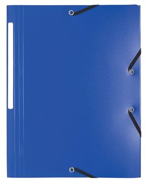 Exacompta elastomap A4, uit PP, 3 kleppen en elastiek blauw