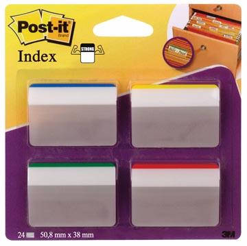 Post-it Index Strong, ft 50,8 x 38 mm, voor hangmappen, set van 24 tabs, 4 kleuren, 6 tabs per kleur