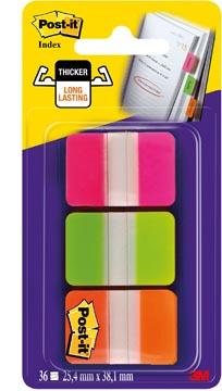 Post-it Index Strong, ft 25,4 x 38 mm, set van 3 kleuren (roze, groen en oranje), 12 tabs per kleur