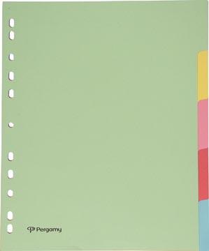 Pergamy tabbladen ft A4 maxi, 11-gaatsperforatie, karton, geassorteerde pastelkleuren, 5 tabs