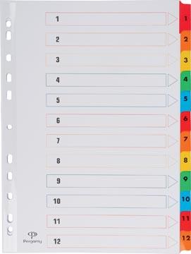 Pergamy tabbladen met indexblad, ft A4, 11-gaatsperforatie, geassorteerde kleuren, set 1-12