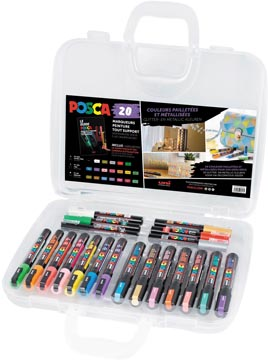 Posca paintmarkers, doos van 20 stuks, in geassorteerde kleuren, ontwerp Metallic