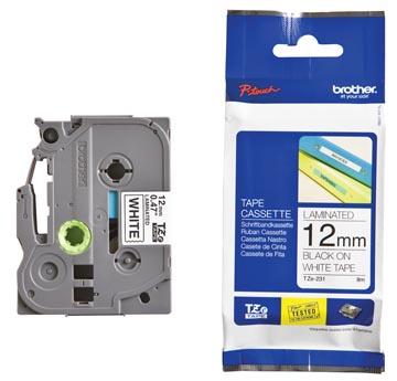 Brother TZe tape voor P-Touch 12 mm, zwart op wit
